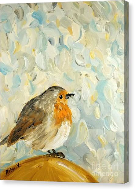 Canvas Print featuring the painting Fluffy Bird In Snow by Maria Langgle