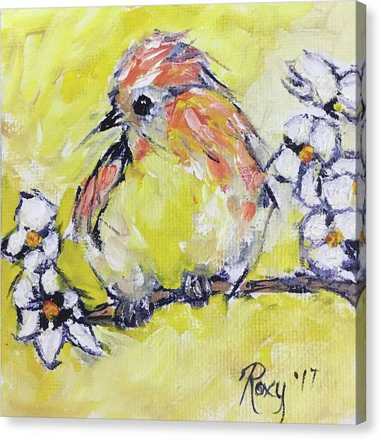 Flycatchers Canvas Print - Fluffy Yellow Bird by Roxy Rich