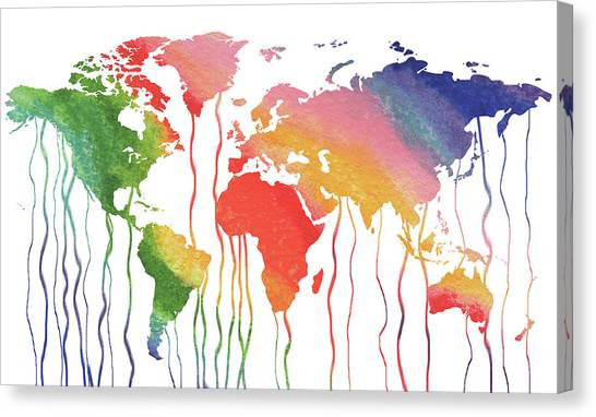 Fluids Canvas Print - Fluid Rainbow Watercolor World Map by Irina Sztukowski