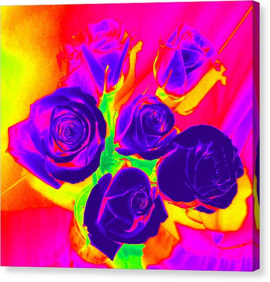 Fluorescent Roses Canvas Print
