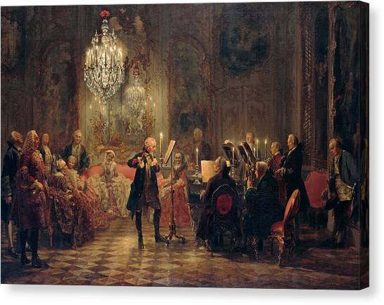Canvas Print featuring the painting Flute Concert With Frederick The Great In Sanssouci by Adolph Menzel