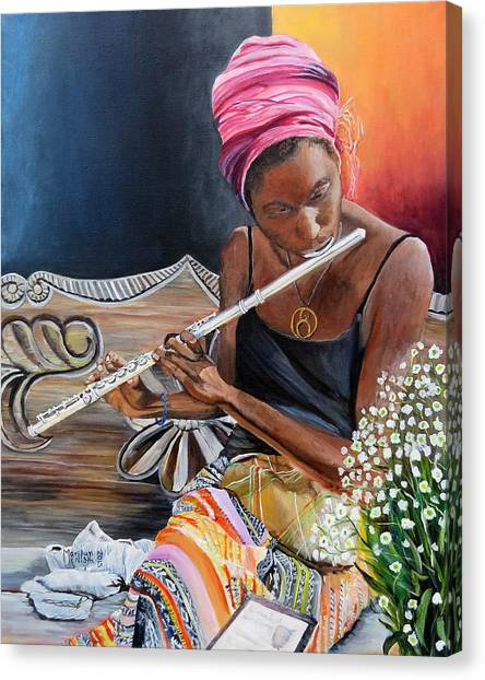 Flute Player Canvas Print