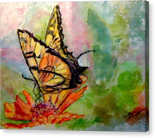 Flutterby - Watercolor Canvas Print by Donna Hanna