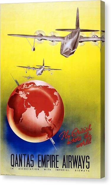 Empire Canvas Print - Fly British Across The World - Qantas Empire Airways - Retro Travel Poster - Vintage Poster by Studio Grafiikka