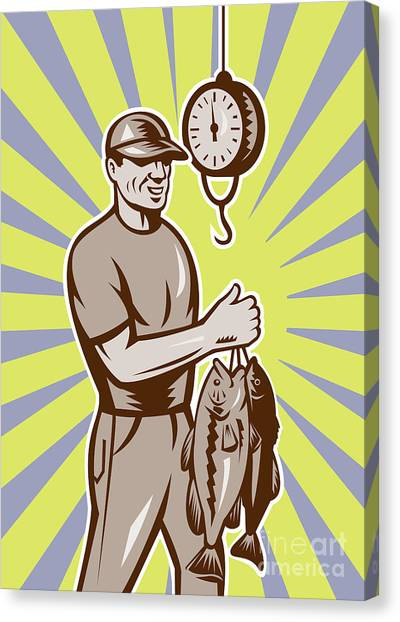 Fish Canvas Print - Fly Fisherman Weighing In Fish Catch  by Aloysius Patrimonio