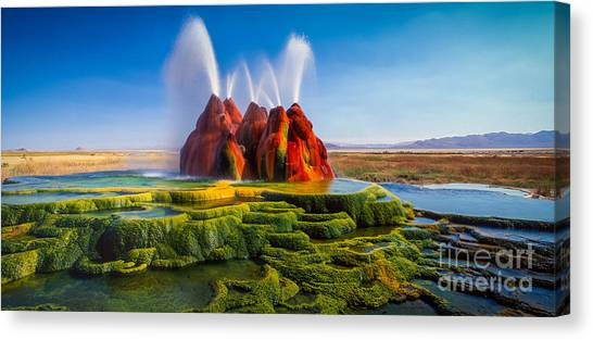 Black Rock Desert Canvas Print - Fly Geyser Panorama by Inge Johnsson