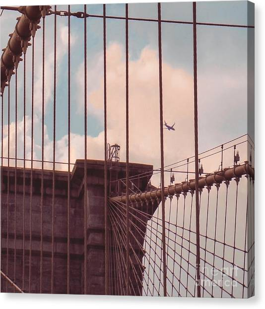 Bridge Canvas Print - Fly Over Brooklyn  by Charlie Cliques