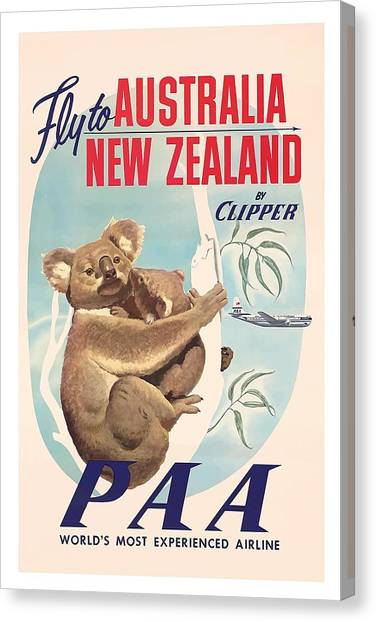 Koala Canvas Print - Fly To Australia, New Zealand By Clipper Koala Bears by Retro Graphics