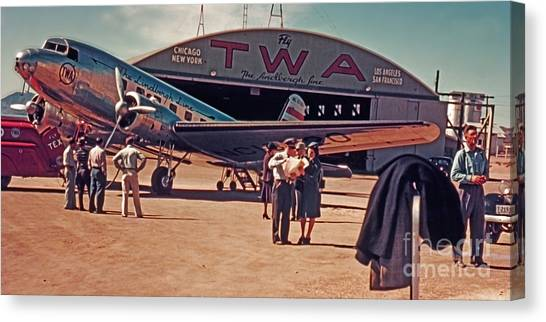 Fly Twa The Lindberg Line By Henry Bosis Canvas Print
