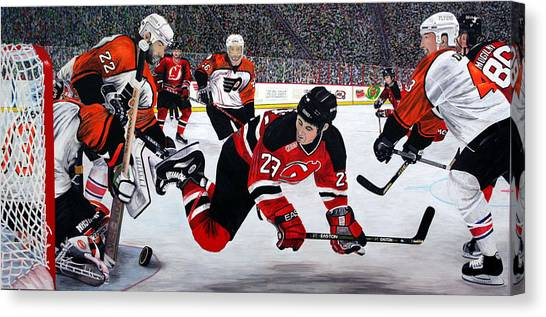 New Jersey Devils Canvas Print - Flyers/devils by Mark Richardson