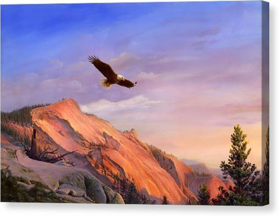 Eagle In Flight Canvas Print - Flying American Bald Eagle Mountain Landscape Painting - American West - Western Decor - Bird Art by Walt Curlee