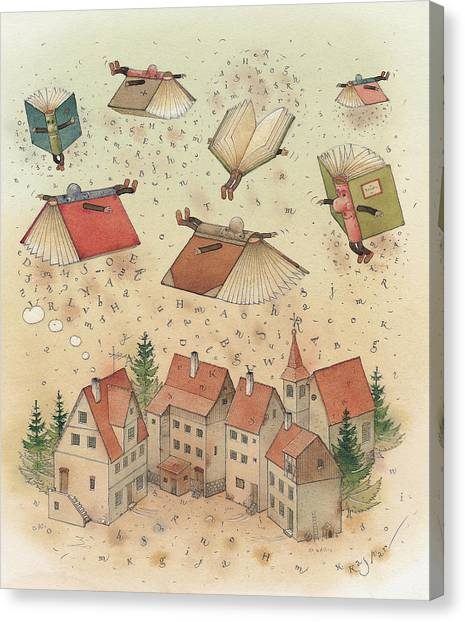 Flying Books Canvas Print by Kestutis Kasparavicius