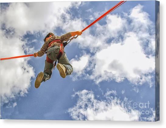 Trampoline Canvas Print - Flying Boy by Patricia Hofmeester