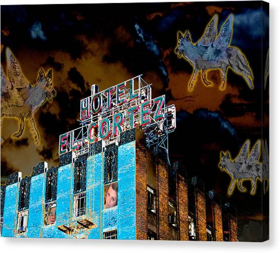 Flying Coyotes Circling The El Cortez Hotel Canvas Print