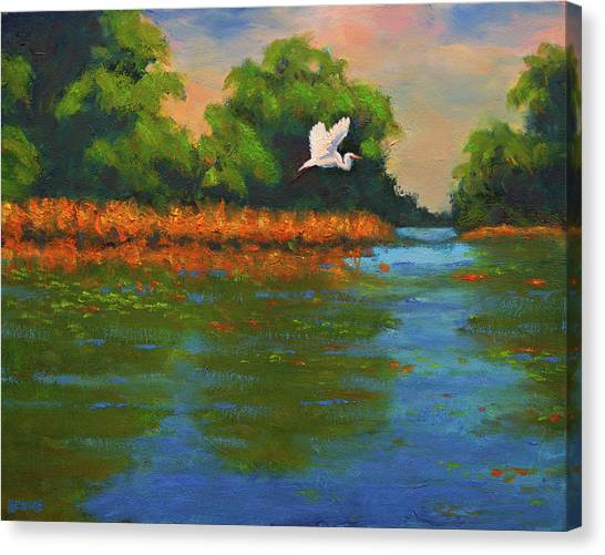 Langan Lake Heron II Canvas Print