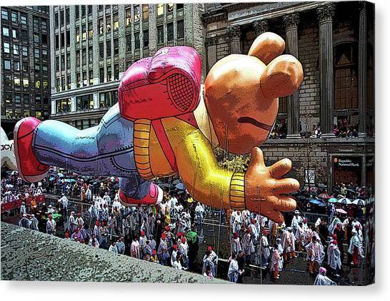 Macys Parade Canvas Print - Flying Down Broadway by Allen Beatty