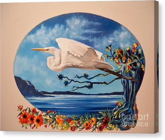 Flying Egret Canvas Print