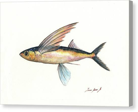 Flying Canvas Print - Flying Fish by Juan Bosco