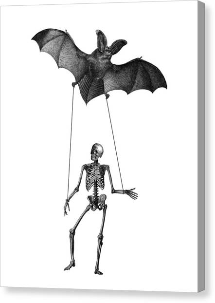 Skeleton Canvas Print - Flying Bat With Skeleton On A String by Madame Memento