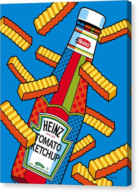 Ketchup Canvas Print - Flying Fries by Ron Magnes