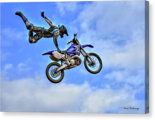 Motocross Canvas Print - Flying High 5 by Reid Callaway