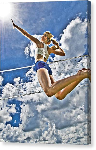 Volleyball Canvas Print - Flying High by Steve Williams