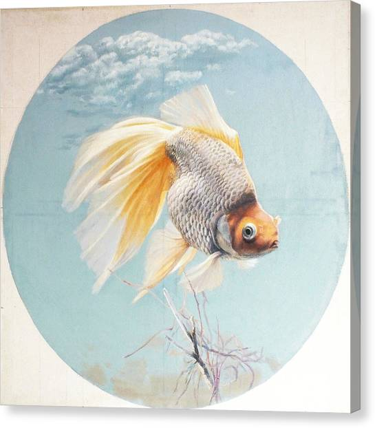 Goldfish Canvas Print - Flying In The Clouds Of Goldfish by Chen Baoyi