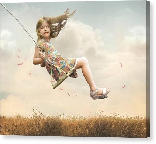 Flower Girl Canvas Print - Flying by Joel Payne