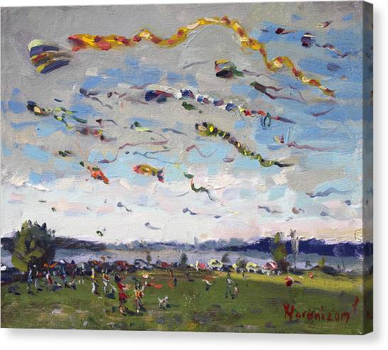 Flying Canvas Print - Flying Kites Over Gratwick Park by Ylli Haruni