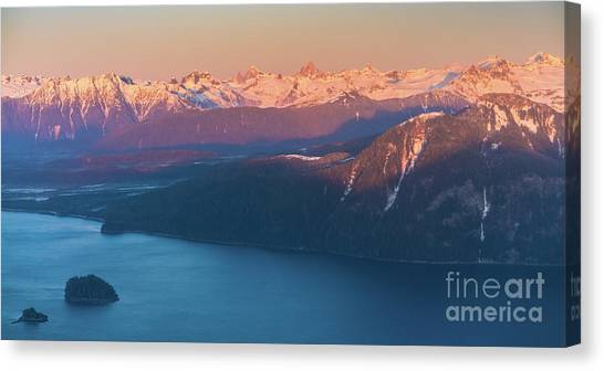Seaplanes Canvas Print - Flying Past The Coast Range And Devils Thumb At Dusk by Mike Reid