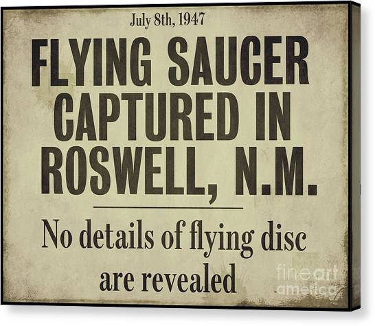 Nm Canvas Print - Flying Saucer Roswell Newspaper by Mindy Sommers