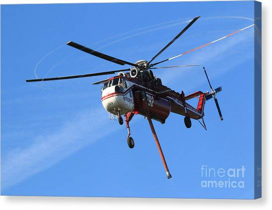 Skycrane Canvas Print - Flying Water Vacuum by Craig Corwin