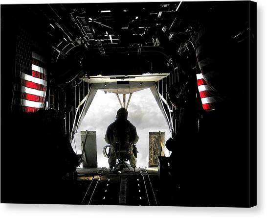Flying With The Stars And Stripes In Afghanistan Canvas Print