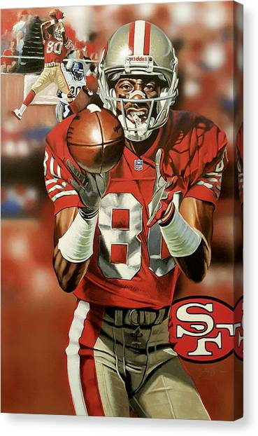 Jerry Rice Canvas Print - Focused by Joshua Jacobs