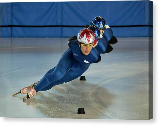 Speed Skating Canvas Print - Focused On The Finish Line by Jim Sawers