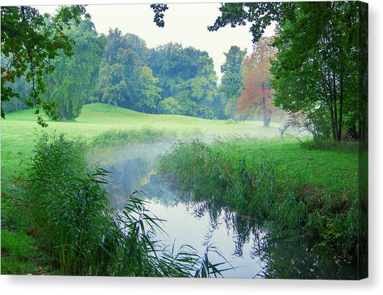 Fog Along A Creek In Autumn Canvas Print
