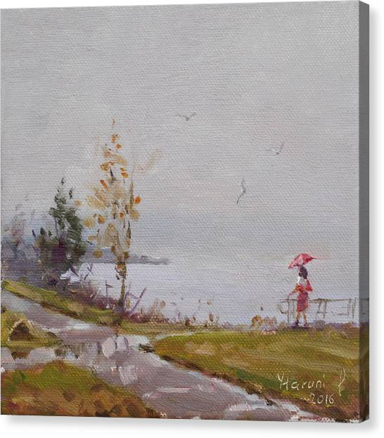 Seagulls Canvas Print - Fog And Rain At Gratwick Waterfront Park by Ylli Haruni