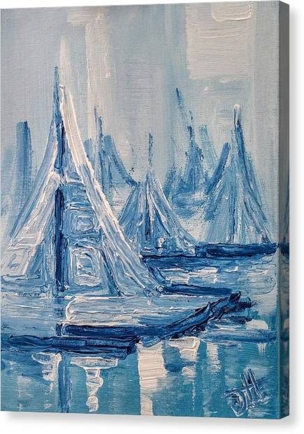 Canvas Print featuring the painting Fog And Sails by Jennifer Hotai