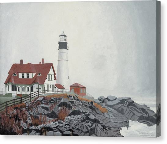 Canvas Print featuring the painting Fog Approaching Portland Head Light by Dominic White