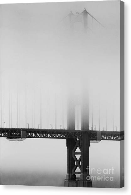 Fog At The Golden Gate Bridge 4 - Black And White Canvas Print
