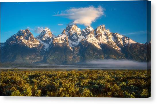 Tundras Canvas Print - Fog At The Tetons by Darren White