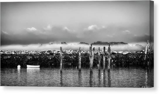 Fog Beyond The Breakwater Canvas Print