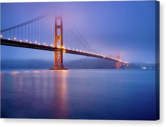 Water Canvas Print - Fog City Bridge by Jonathan Fleming
