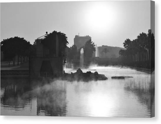 Fog In Park Monochrome Canvas Print