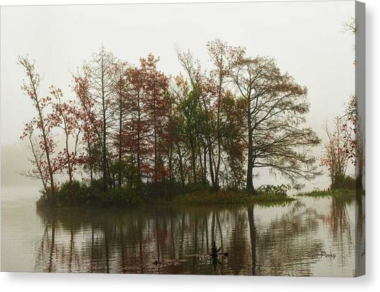 Fog On The River Canvas Print by Bill Perry