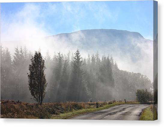 Fog On The Road To Fintry Canvas Print