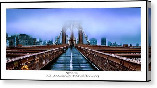 Brooklyn Bridge Canvas Print - Fog Over The Brooklyn Poster Print by Az Jackson