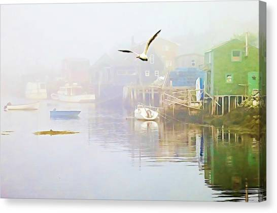 Fog Over West Dover - Digital Paint Canvas Print