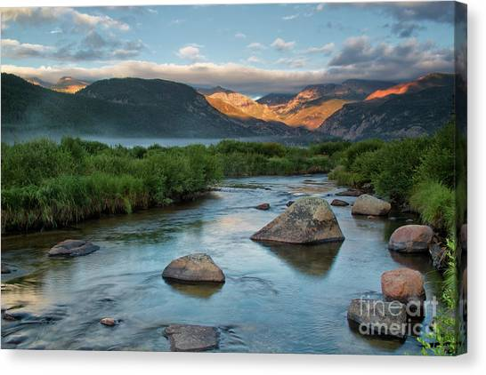 Fog Rolls In On Moraine Park And The Big Thompson River In Rocky Canvas Print