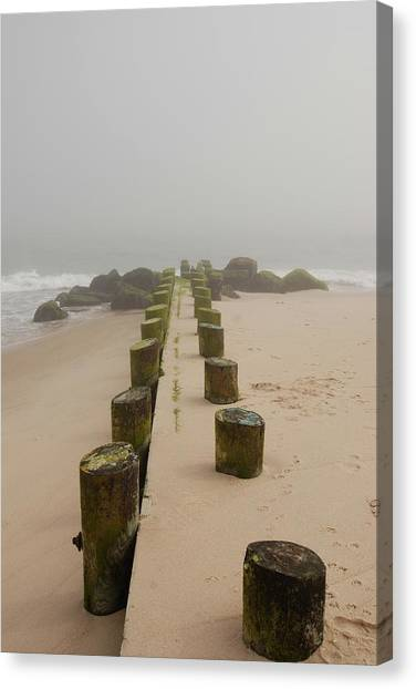 Fog Sits On Bay Head Beach - Jersey Shore Canvas Print